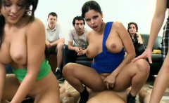 Three big titted latinas rammed so hard by three horny men