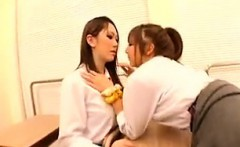 Hot Asian lesbians make out and toy their twats in differen