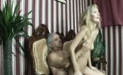 elegant blonde chick fucked hard by horny crippled man