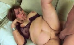 Fat Old Lady Dominika Takes Big Dong On Couch