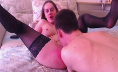 she got a hot cum on her big tits after fucking