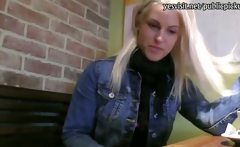 Innocent blondie Czech girl pussy banged in the coffee shop