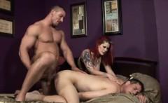 Hot redhead bimbo shares two massive dongs