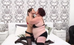 Hot babe having sex with a dirty old lesbian