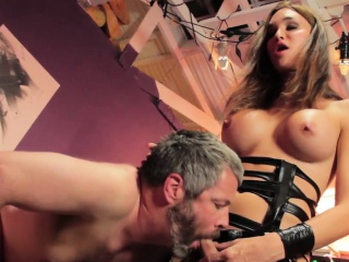 Dominant bdsm trans queen cums on male face