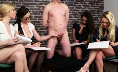 British cfnm babes jerking their sub in group