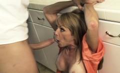 Mom Sucks Him off in the laundry room