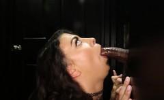 Young hottie sucking off strangers in random gloryohle