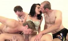 Busty shemale Chanel Santini sucks three cocks n double anal