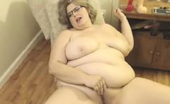 Fat blonde bitch posing on web camera