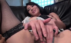 Asian bitch pokes her fat pink flaps with big dildo