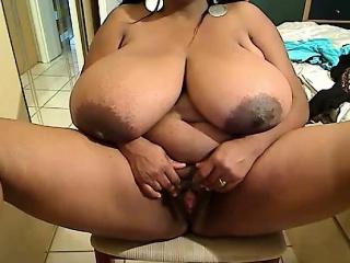Ebony mistress with unbelievable huge black boobs