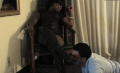 Nasty hottie has slave lick footsole and walks all over him