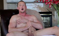 Amateur hunk shows body before jerking cock