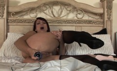 Solo redhead babe toys ass with huge dildo