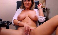 Amateur big boobs MILF masturbating with dildo on webcam