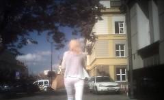 Blonde teen sucks and fucks in public outdoor