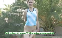 Emilie angelic teenage brunette gymnast works out naked in