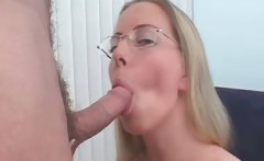 Hot horny blonde with nice tits sucks