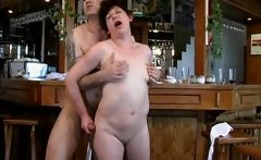 Dirty brunette housewife gets her pussy