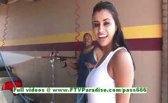 Alexa Loren busty brunette woman public flashing tits