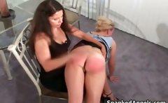 Blonde MILF gets bent over knees to get