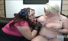 Hot blonde lesbo making out with her BBW girlfriend