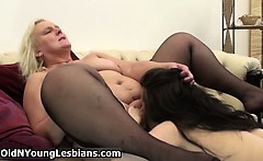 Fat blonde housewife in stockings gets