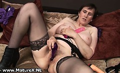 Granny with black stockings and big