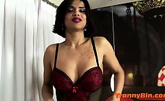Hot tranny tease with a big cock