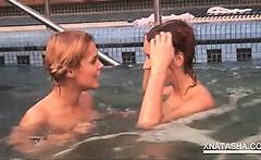 Pool lesbian fun with naked playful Natasha Shy
