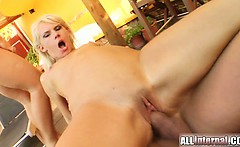 Two guys impale the pussy of a hot blonde going by the name