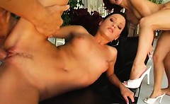 Two adorable chicks take on two lucky studs. They get their