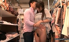 Horny asian babe gets horny