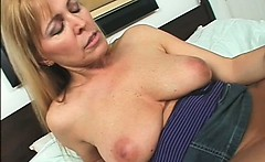 Teen lesbian sex doll licking MILFs pussy in bed