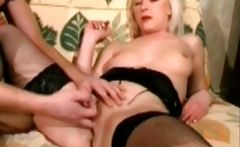 Pretty blonde in stockings anal fucked