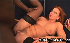 Muscle babe sucking black cock making her throb