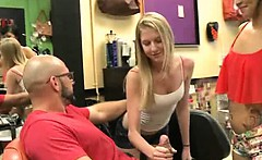 Blonde Flashes Tits And Brunette Sucks In A Salon