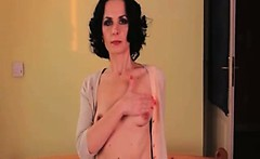 Skinny and sexy older woman making