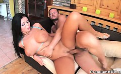 awesome christina jolie bouncing on hard cock and gets