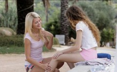 Two teens Vanessa and Izzy Delphine lesbian sex outdoors