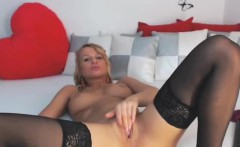 Young blonde milf masturbate with finger on live webcam