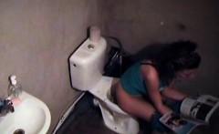 Spycam captures brunette girl pissing amateur