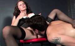 Mistress pussy licked by her tortured sex slave
