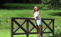 Blonde lifts up her leg and takes a warm piss
