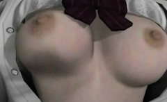 Chesty anime schoolgirl show panties