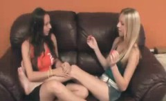 Teen Babes Stroke The Big Cock Of Boyfriend Of One Of Them