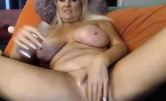 Busty Granny Playing With Her Holes