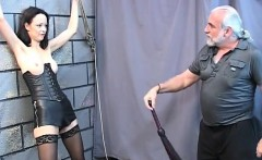 gorgeous young girl in a bdsm corset is   fuck her on dom m