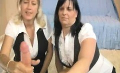 two milfs jacking off the thick cock